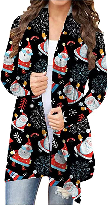 Womens Cardigans Loose Christmas Snowman Print Cardigan Sweater Casual Long Sleeve Overwear Coat Outwear