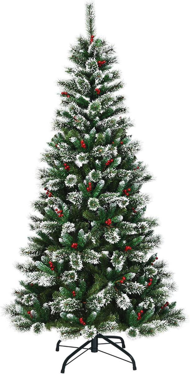 Goplus 7ft cheap Super popular specialty store Snow Flocked Pencil Sl Premium Hinged Tree Christmas