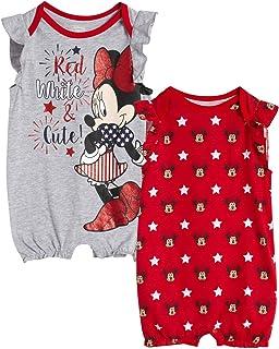 Baby Girls Romper 2 Pack: Minnie Mouse Ruffle Sleeve Romper (Newborn/Infant)