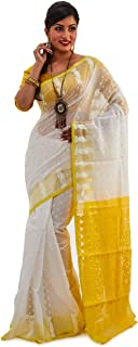 SareesofBengal Women's CottonSilk Handloom Jamdani Dhakai Saree White