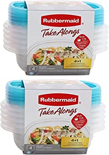 Rubbermaid Take Alongs | Quik Clik 4+1 32 OZ | Pack of 2= Total of 10 Containers