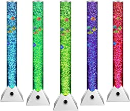 Sensory Bubble Tower Lamp - 3.3ft Length 0.33ft Diametert Bubble Tube with Fade Fishes and Colorful LED Floor Lamp for Living Room,Bed Room,Meeting Room