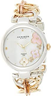 Akribos XXIV Women's Gold and Silver Diamond Jewelry Watch - White Mother of Pearl Dial with Applied Flowers - Luminous Ha...