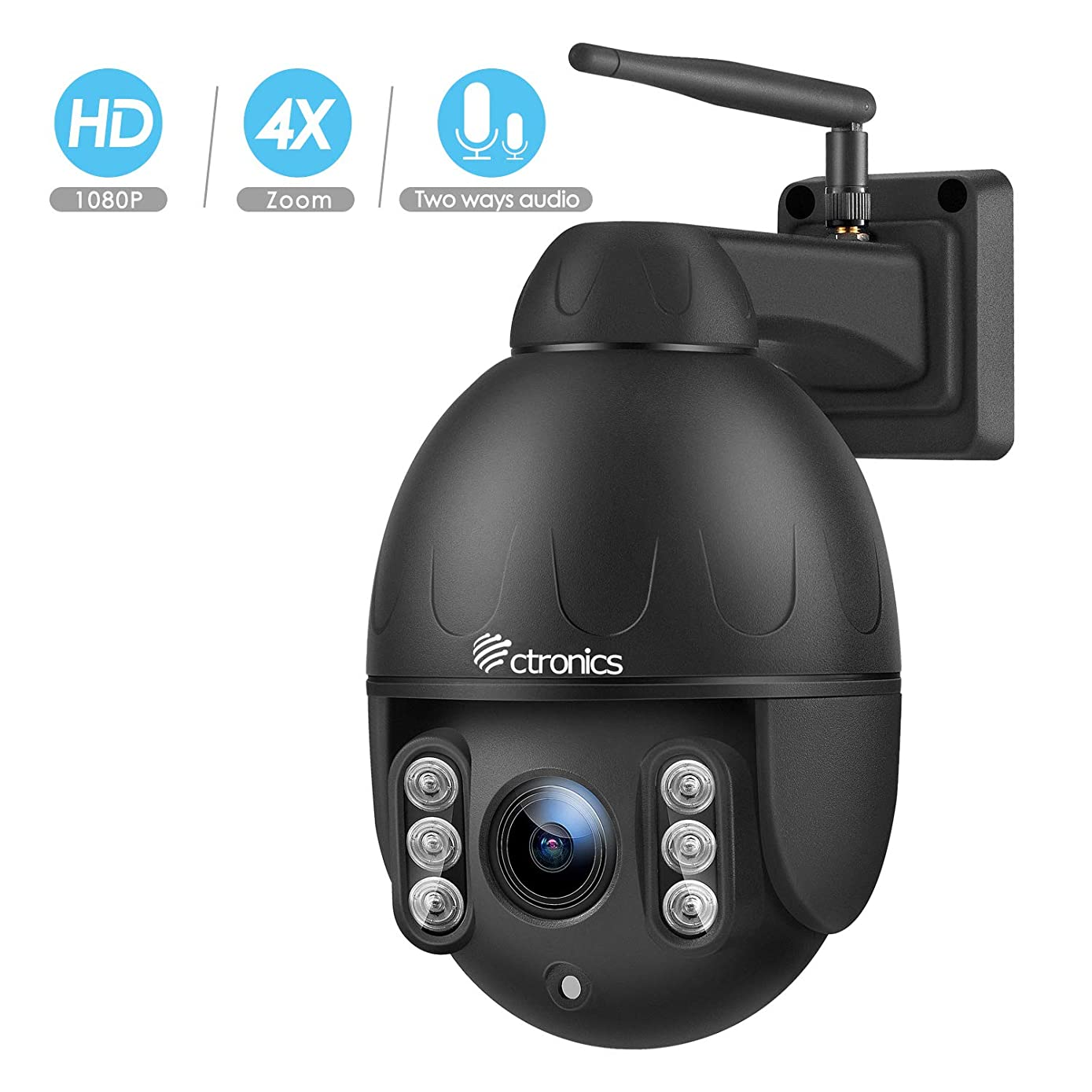 Ctronics PTZ Camera Outdoor,1080P WiFi Security IP Camera, 355° Pan 120° Tilt 4X Optical Zoom, Instant Notification of Motion Detection,165ft Night Vision, Black