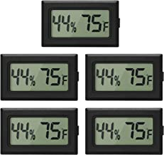 EEEKit 5-Pack Mini Thermometer Hygrometer, Small Digital Electronic Temperature Humidity Meters Gauge Indoor LCD Display Fahrenheit for Humidors, Greenhouse, Garden, Cellar, Fridge, Mason Jar