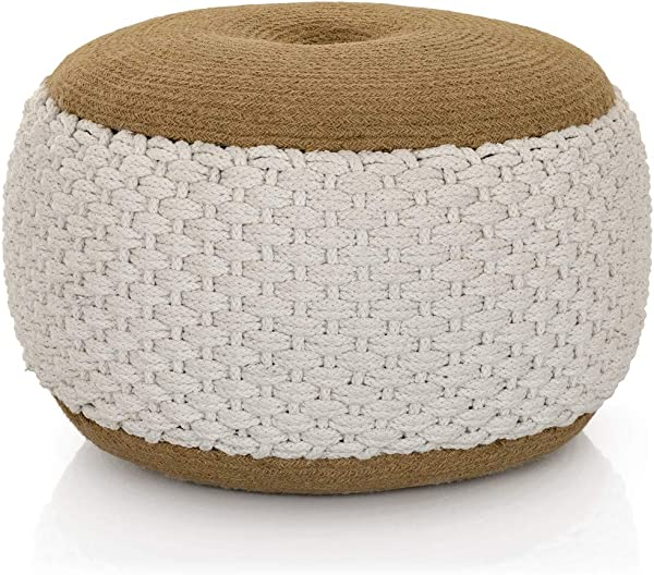 Lincove Woven Cotton Pouf Boho Pouf Seat Floor Stuffed Ottoman Handmade Hand Woven Round Pouf White Woven Pouf