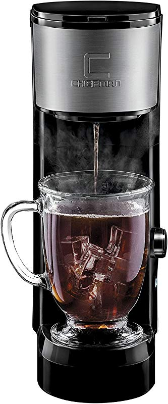 Chefman Instabrew Single Serve Maker Brewer For K Cup Pods Coffee Grounds Loose Leaf Tea W Instant Reboil Bonus Reusable Filter Compact 14 Oz Black Stainless Steel Mug Not Included