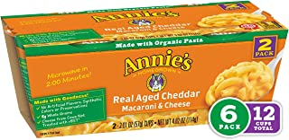 Annie's Real Aged Cheddar Macaroni & Cheese, Microwavable Mac & Cheese, 12 Cups, 4.02 oz each