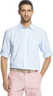 IZOD Men's Saltwater Dockside Chambray Long Sleeve Button Down Solid Shirt