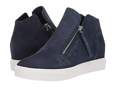 Steve Madden Caliber Wedge Sneaker (Navy Suede) Women