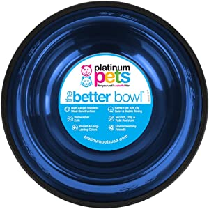 Platinum Pets Embossed Non-Tip Stainless Steel Dog Bowl