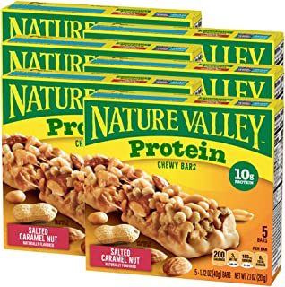 Nature Valley Protein Chewy Bar Gluten Free Salted Caramel Nut,1.42 Ounce Bars, 5 Count, 7.1 Ounce (Pack of 6)