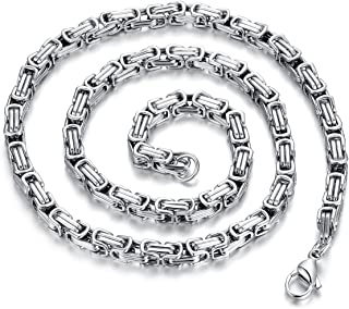 Königskette 925 Sterling Silber eckig Kette Herren Halskette panzerkette