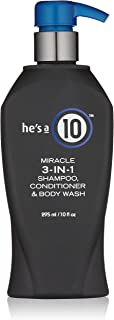 It's a 10 Haircare He's A Miracle 3-in-1 Shampoo, Conditioner and Body Wash, 10 fl Ounces