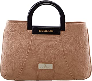 ESBEDA Beige Snake Work Pu Synthetic Fabric Armbag For Women