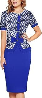 Women's Short Sleeve Bowknot Button Patchwork Business Sheath Dress