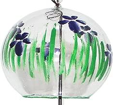 NIHON ICHIBAN Japanese Handmade Glass Wind Chime with Painting of Iris Flowers