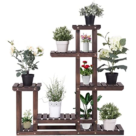 Giantex 6 Tier Wooden Plant Stand, 10 Pots Flower Display Rack, Vertical Shelves Plant Pot Holder, Multiple Tier Plant Succulent Bonsai Organizer Storage for Home Patio Balcony Garden