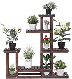 Giantex Flower Rack Plant Stand Multi Wood Shelves Bonsai Display Shelf Indoor Outdoor Yard Garden Patio Balcony Multifunctional Storage Rack Bookshelf W/Hollow-Out Rack (6 Wood Shelves 10 Pots)
