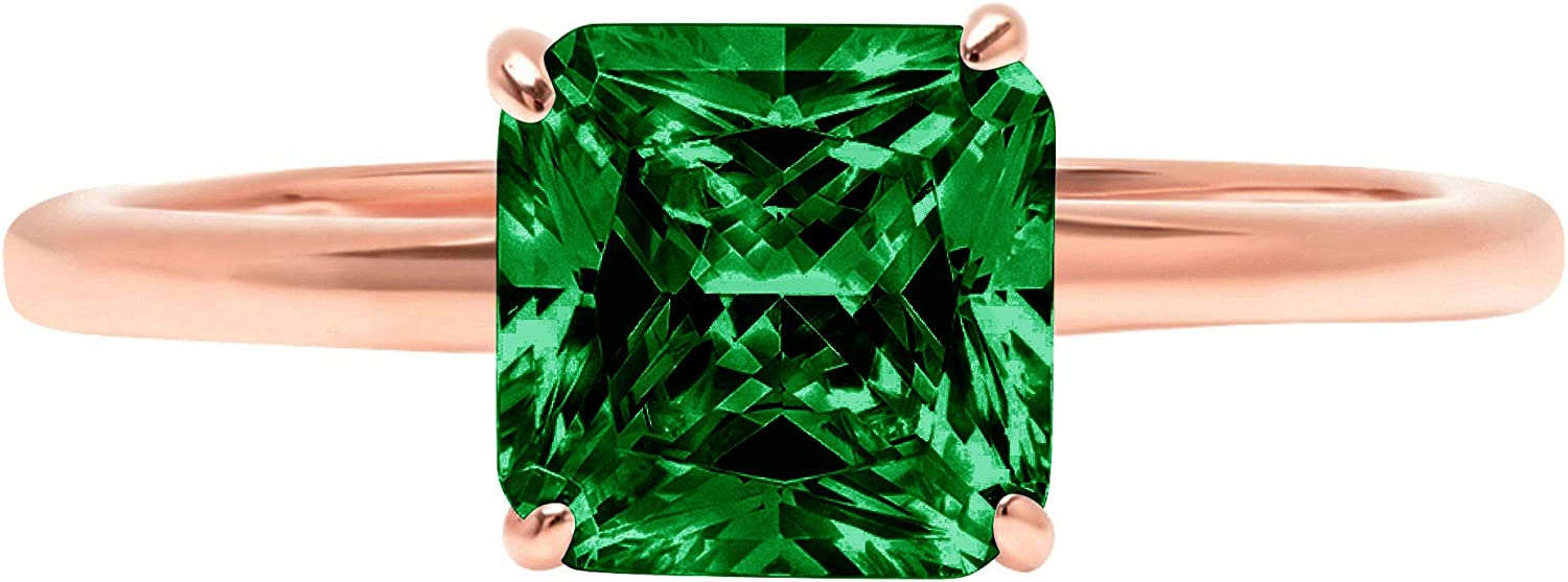 1.4ct Brilliant Asscher Cut Solitaire Flawless Simulated Cubic Zirconia Green Emerald Ideal VVS1 4-Prong Engagement Wedding Bridal Promise Anniversary Designer Ring Solid 14k Rose Gold for Women