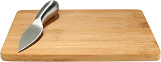 "BambooMN Premium Bamboo Small Cheese Cutting Board - 7.9"" x 5.5"" x 0.4"" - with Knife - 1 pc"