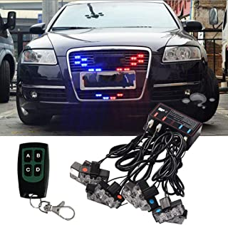 XianghuangTechnology Red and Blue 16 LED Flashing Modes Car Truck Emergency Flash Dash Vehicle Strobe Light Lamp Bars Warning Deck Dash Front Rear Grille with Remote Control