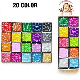 Fingerprint Washable Ink pad for Kids 20 Color Rubber Stamp Ink Pads Set for Paper, Scrapbooking, Wood Fabric