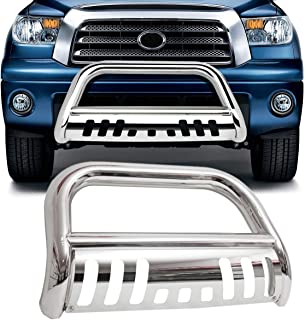 TRIL GEAR Stainless Steel Bumper Brush Push Bull Bar Fit for 1999-2006 Toyota Tundra 2001-2007 Toyota Sequoia Grille Guard with Skid Plate Silver