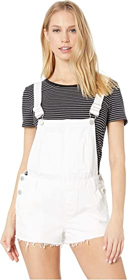 White Denim Short Overalls in Lightbox White