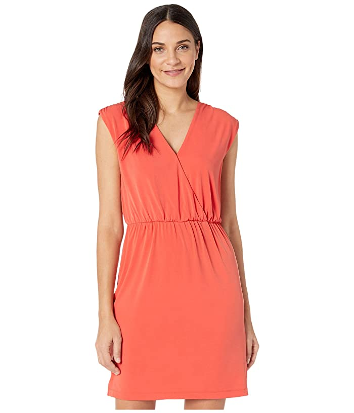 1.STATE  Sleeveless V-Neck Cinched Waist Dress (Papaya) Womens Dress