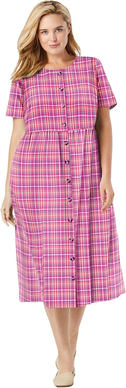 Woman Within Women's Plus Size Short-Sleeve Seersucker Dress