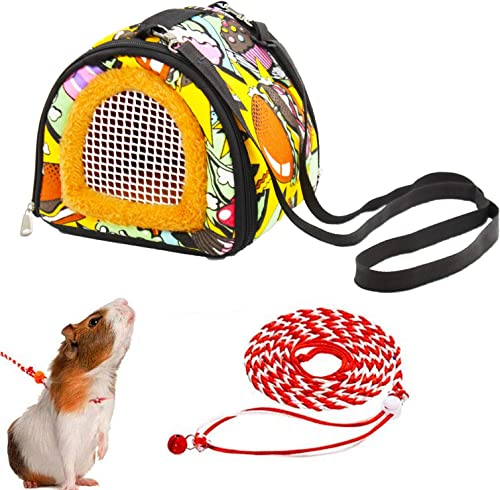 ADOGGYGO Small Animals Hamster Carrier Bag with Strap Breathable Portable Outgoing Bag for Hamster Hedgehog Squirrel ...
