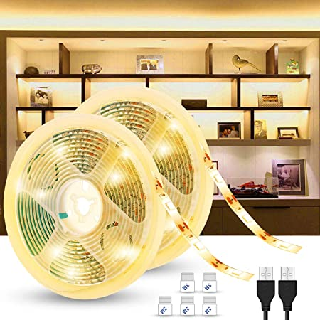 (2 Pack) LED Strip Lights 2M Warm White, USB Powered SMD 5050 Lighting Strips, Mood Lighting, IP65 Waterproof for Kitchen, Vanity Mirror, Kick Boards, Cabinet, Bedroom, Ceiling, Wall, Non Dimmable