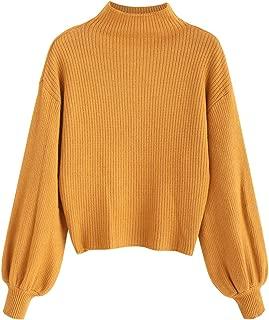 Women's Lantern Sleeve Mock Neck Plain Sweater Drop Shoulder Knit Pullover Sweater