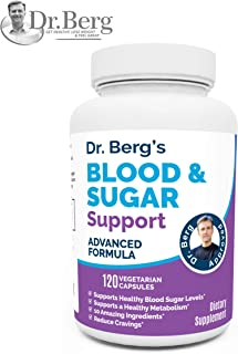 Dr. Berg's Healthy Blood Sugar Support Supplements - 10 Powerful Ingredients - Helps with Cravings, 120 Capsules