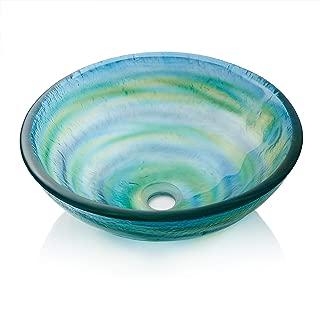 Miligore Modern Glass Vessel Sink - Above Counter Bathroom Vanity Basin Bowl - Round Blue & Green