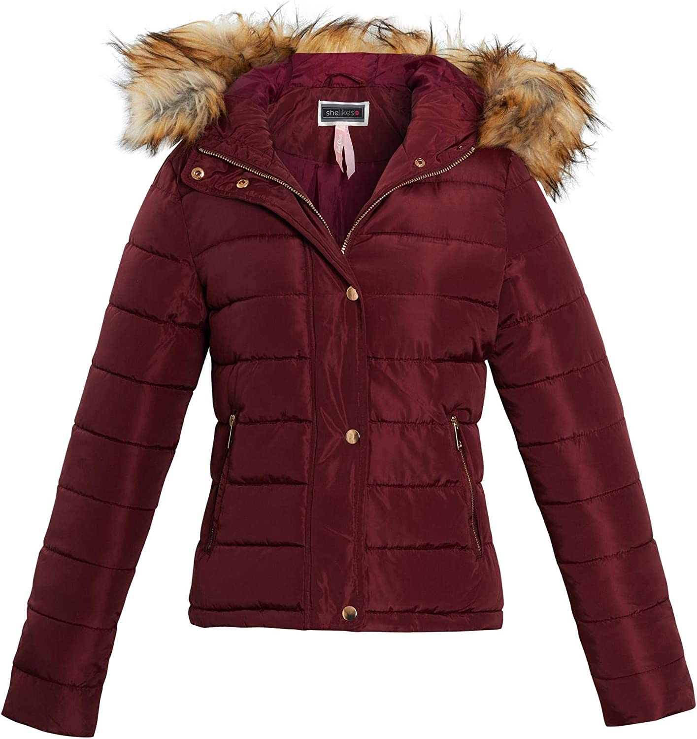 Shelikes Womens Ladies Fur Winter Quilted Hooded Parka Jacket Size 8 to 16