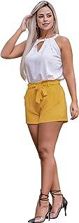 Shorts Feminino Bermuda Social Festa Com Elastico E Cinto
