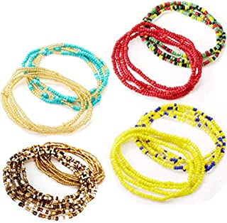 Tuoshei 8 Piece Summer Jewelry Waist Bead Set, Colorful Waist Bead, Belly Bead, African Waist Bead, Body Chain, Beaded Belly Chain, Bikini Jewelry for Woman Girl (style 1)