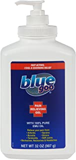 BLUE GOO PAIN RELIEVING GEL, 32 Ounce, Fast Acting, Cooling and Soothing Relief, for Back/ Neck Pain, Headache, Leg/ Foot Pain, Arthritis, Sprains, Strains, Stiff Joints, made with 100% PURE EMU OIL