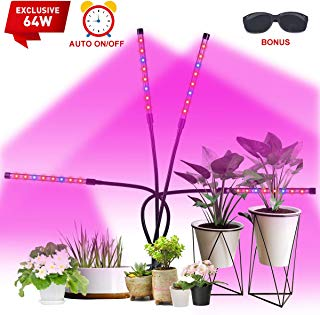 Led Grow Light, Exclusive 64W 4 Heads Plant Growing Lamp Bulbs Auto ON&Off with 4/8/12 H Timer Improved Clip Thicken Gooseneck for Indoor Plants Veg and Flower