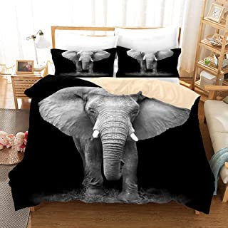 3D Personalized Design Elephant Duvet Cover Set Style Microfiber Decoration Room home (King -Style 2)