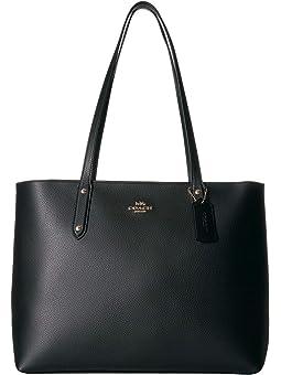 코치 토트백 COACH Polished Pebble Leather Central Tote with Zip,Black/Gold
