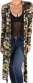Plus Size Women Camo Green Sheer Mesh Kimono Long Duster Cardigan