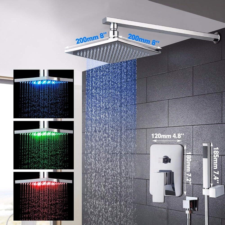 Bathroom Shower Set 8inch Rain Shower Head Bath Shower Mixer with Hand Shower