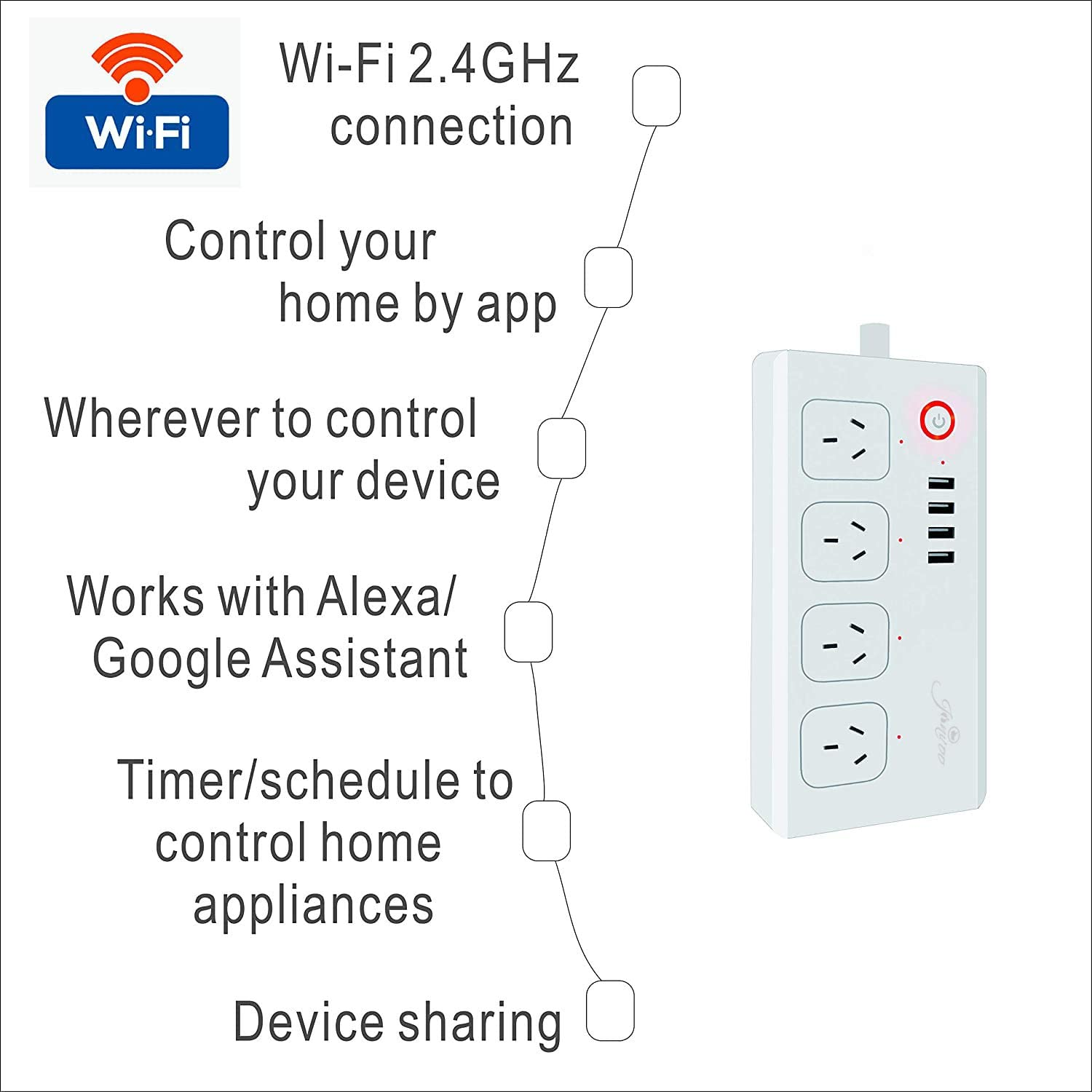 Surge Protector Power Strip Flat Plug, Voice Control with Alexa & Google Home, 4 AC Outlets 4 USB Port, APP Individual Control, Timing Schedule, No Hub Required, FCC Certified,cETL Listed