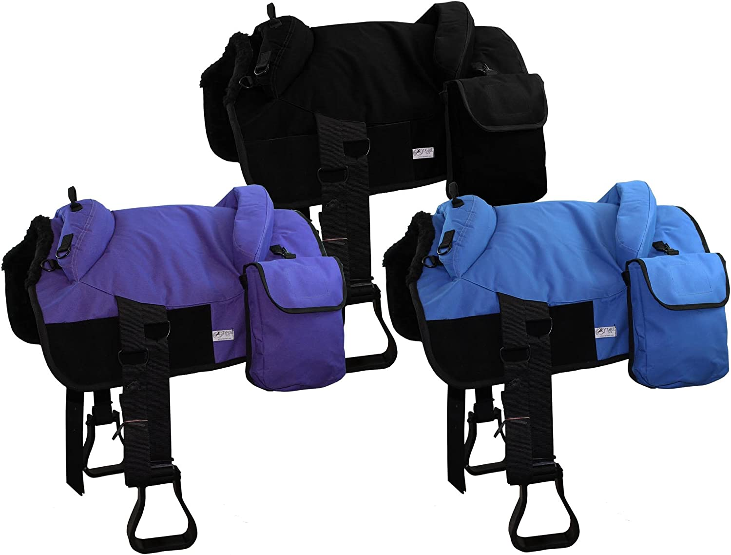 Derby Originals Tahoe Tack Polypropylene Close Contact Western Horse Bareback Pad With Detachable Saddlebags  Multiple colors