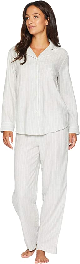 Petite Woven Notched Collar Long Pajama Set