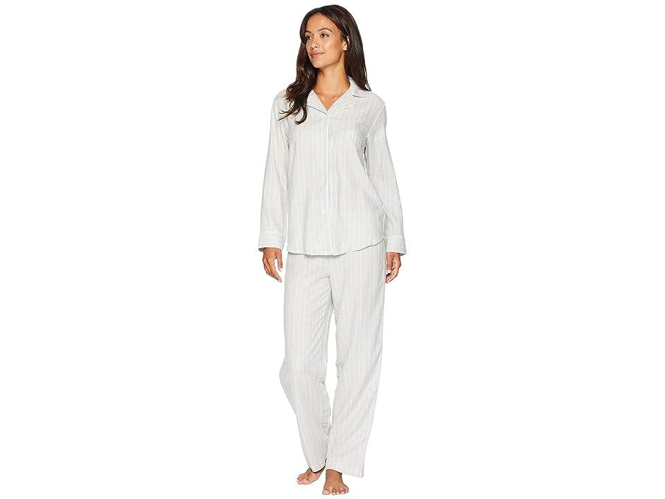 LAUREN Ralph Lauren Petite Woven Notched Collar Long Pajama Set (Grey Heather Print) Women