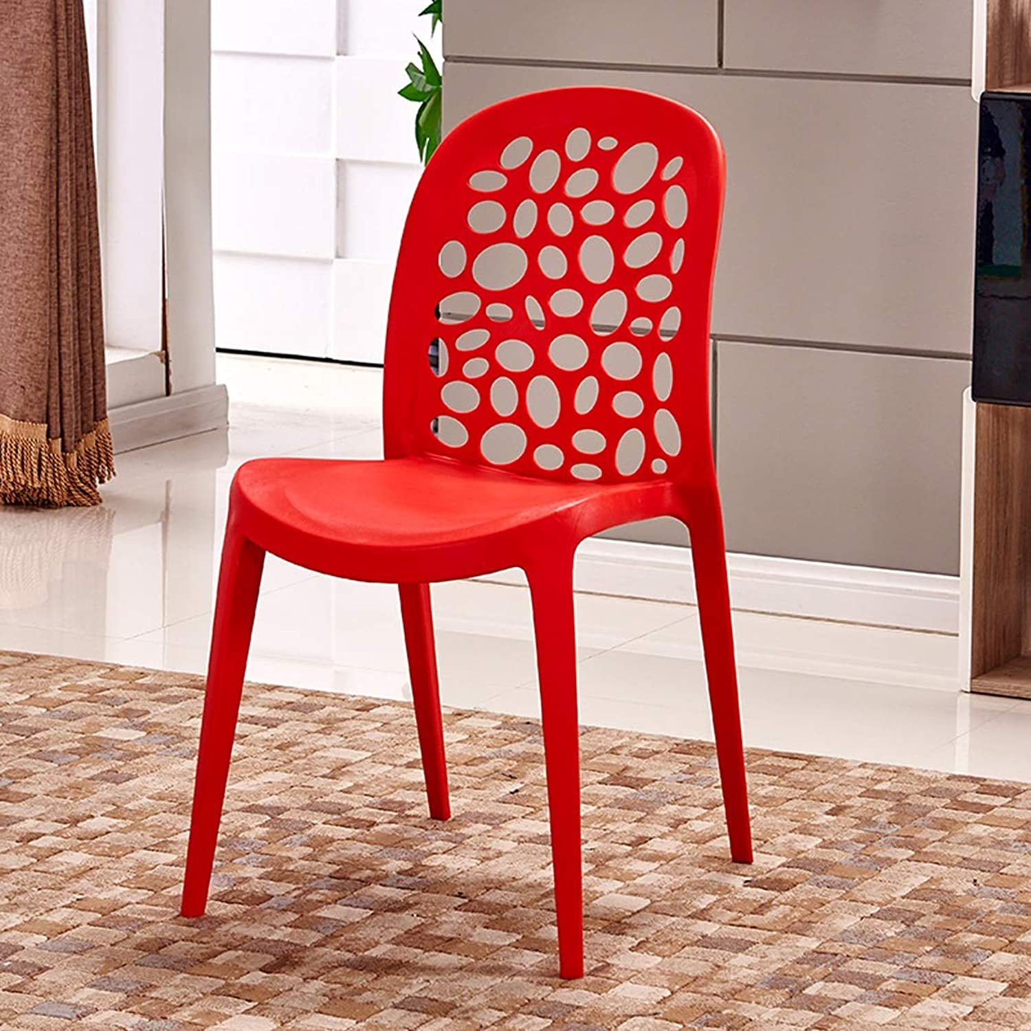 LRW Fashionable Plastic Home Chairs, Simple Chairs, Modern Chairs, Modern Stools, Leisure Dining Chairs, Red